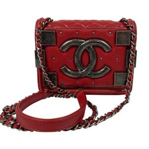CHANEL Lego Le Boy Brick Calf Leather Red Mini Fla
